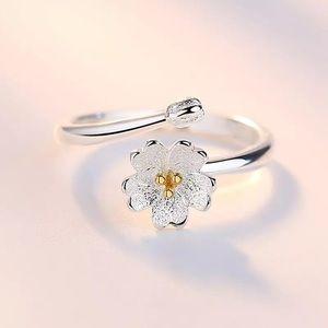 925 sterling silver daisy flower ring